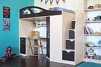 Детская Кровать-чердак со столом, шкафом и лестницей комодом КЧО 164, ДСП 18 мм. (80х190 см)