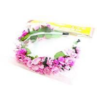 Цветочный обруч Розовый букет широкий Руди ОУ006у-2 (tsi_53699)