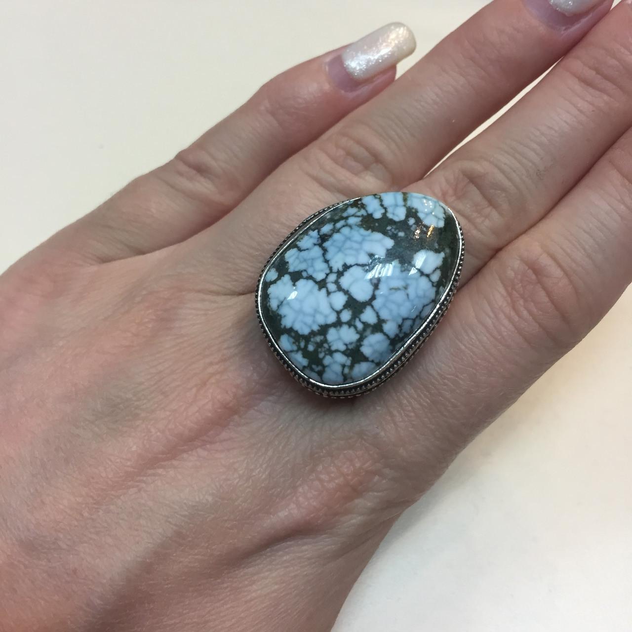 Красивое кольцо с камнем бирюза в серебре. Кольцо с бирюзой 17.5-18 размер