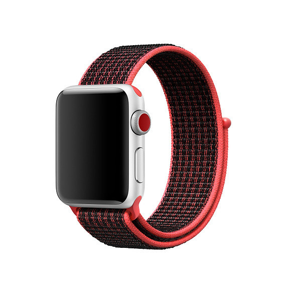 Ремешок Byronats для Apple Watch Series 4 Nike Sport Loop 44 mm Bright Crimson Red-Black (58360)