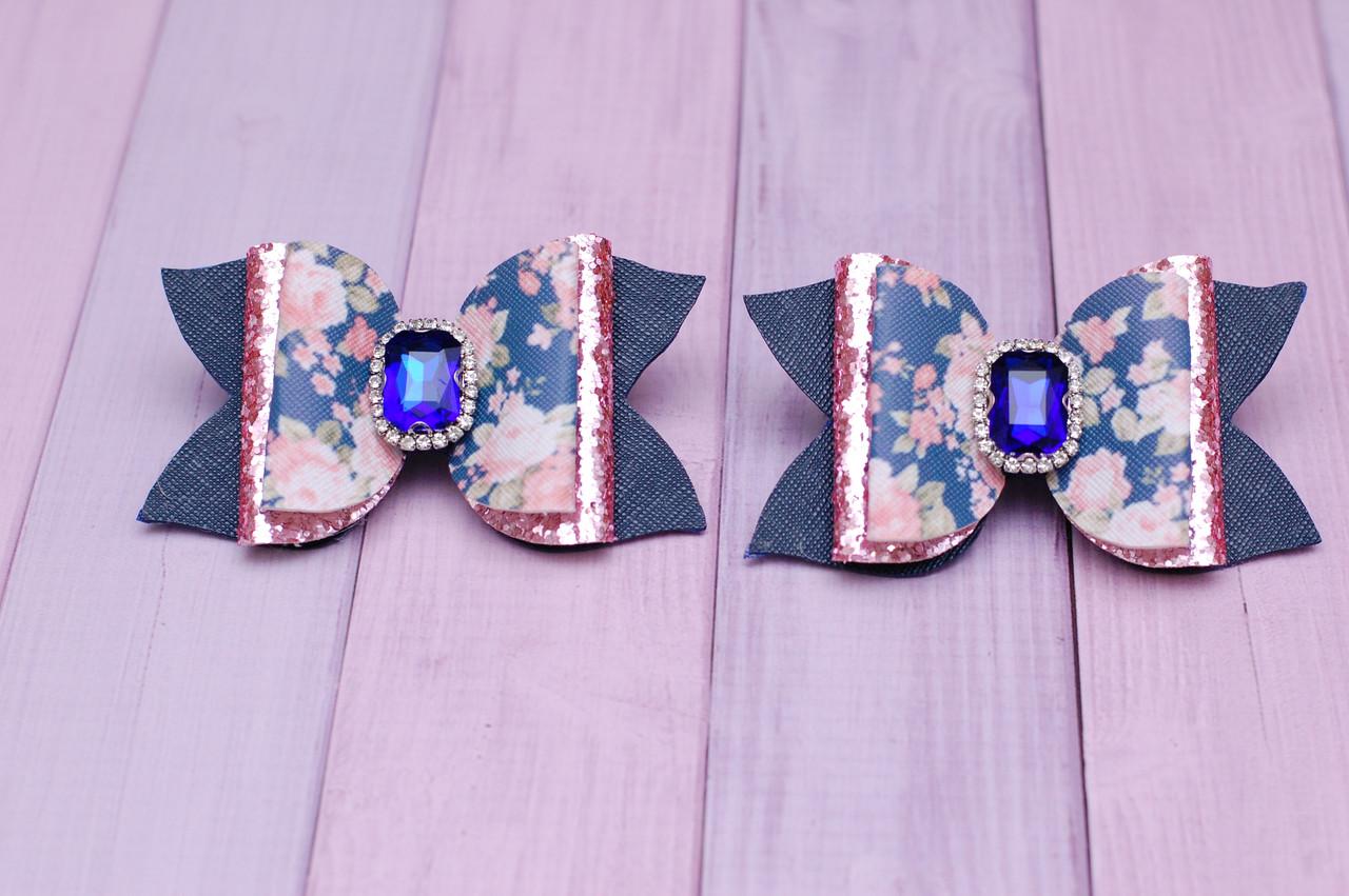 Стильные Бантики из экокожи сине-розовые
