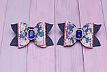 Стильные Бантики из экокожи сине-розовые, фото 3