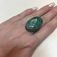 Хризоколла кольцо с камнем хризоколла в серебре.17,5-18 размер. Природная хризоколла. Индия!