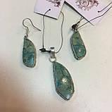Красивые серьги с хризоколлой. Серьги с камнем хризоколла в серебре. Индия!, фото 6