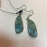 Красивые серьги с хризоколлой. Серьги с камнем хризоколла в серебре. Индия!, фото 3