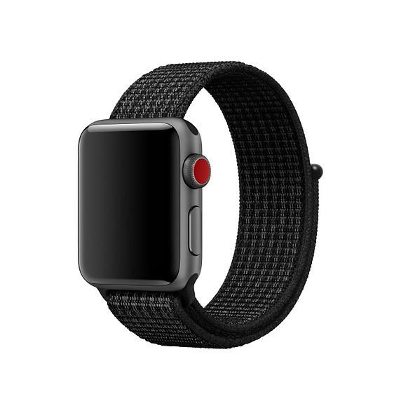 Ремешок Manetar для Apple Watch Series 3 Nike Sport Loop 38 mm Black/Pure Platinum Black-Gray (87343)