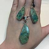 Красивые серьги с хризоколлой. Серьги с камнем хризоколла в серебре. Индия!, фото 5