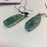 Красивые серьги с хризоколлой. Серьги с камнем хризоколла в серебре. Индия!, фото 2