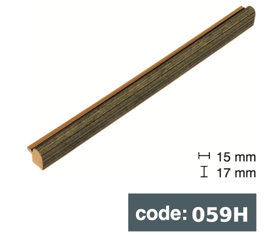 Багет дерев'яний тонкий округлий 1,5см сіро-зелений