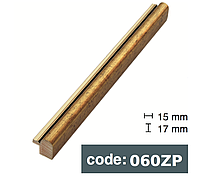 Багет дерев'яний тонкий округлий 1,5 см темне золото