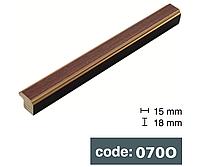 Багет дерев'яний плоский 1.6см кавовий з золотими краями