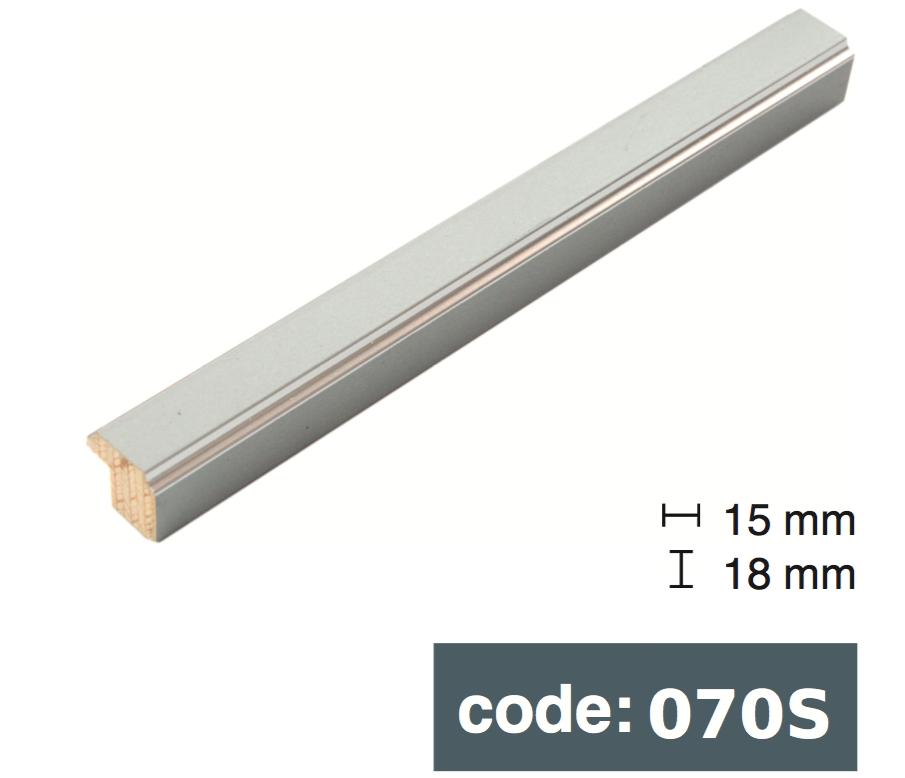 Багет дерев'яний плоский 1,6см срібний/бірюза