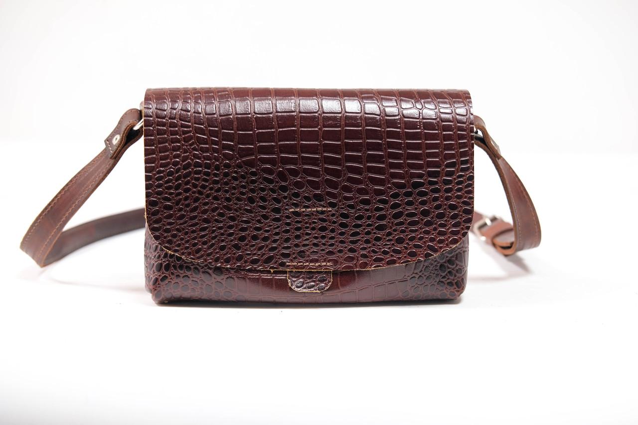 """Женская сумка """"Модель №27"""" Кожа с фактурой Крокодила цвет Коричневый"""