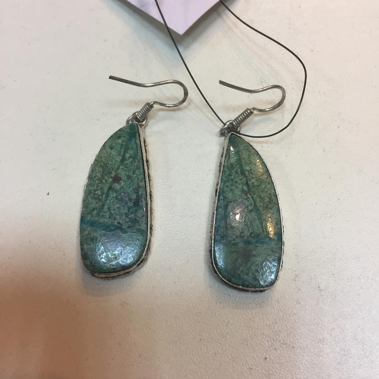 Сережки з каменем хризоколла в сріблі. Сережки з хризоколлой.