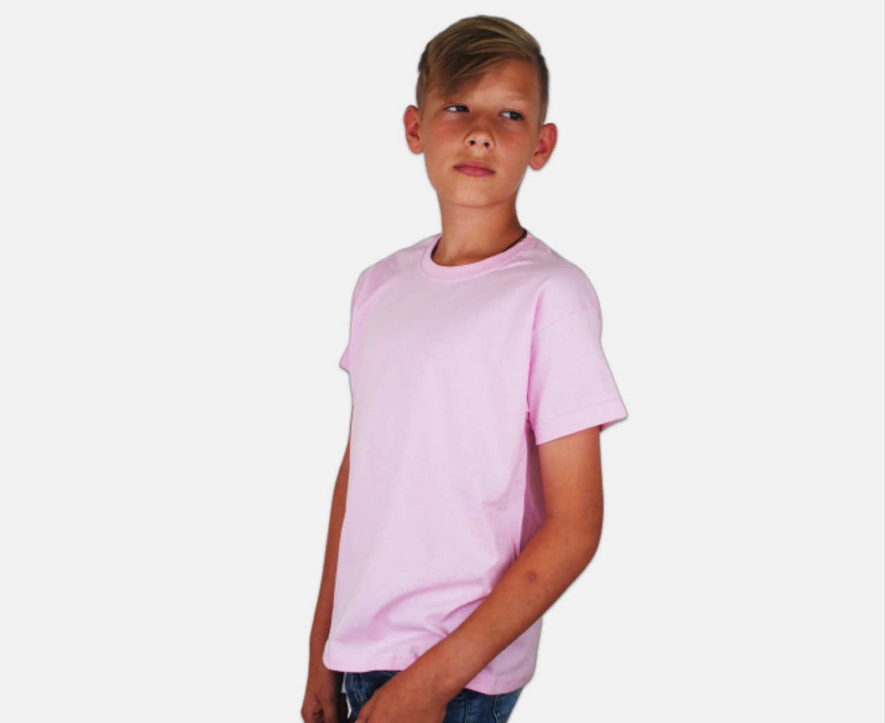 Детская Классическая Футболка для Мальчиков Светло-розовый Fruit of the loom 61-033-52 3-4