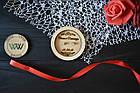 Блюдце для колец, подставка для колец из дерева с гравировкой для свадебной церемонии (круглая), фото 3
