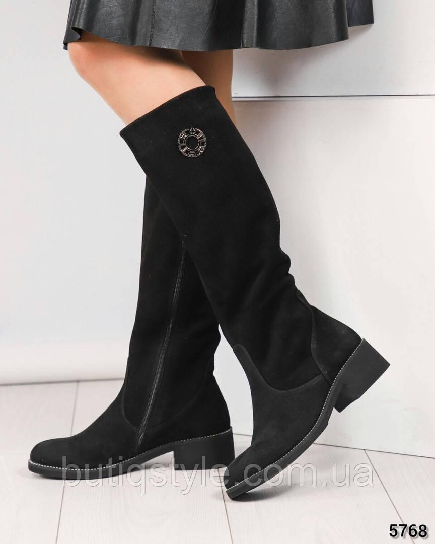 Демисезонные женские черные ботфорты на небольшом каблуке натур.замш