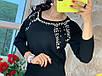 Женский нарядный свитер из кашемира с жемчугом, фото 6