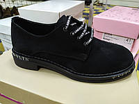 Модные стильные женские замшевые  туфли со шнуровкой