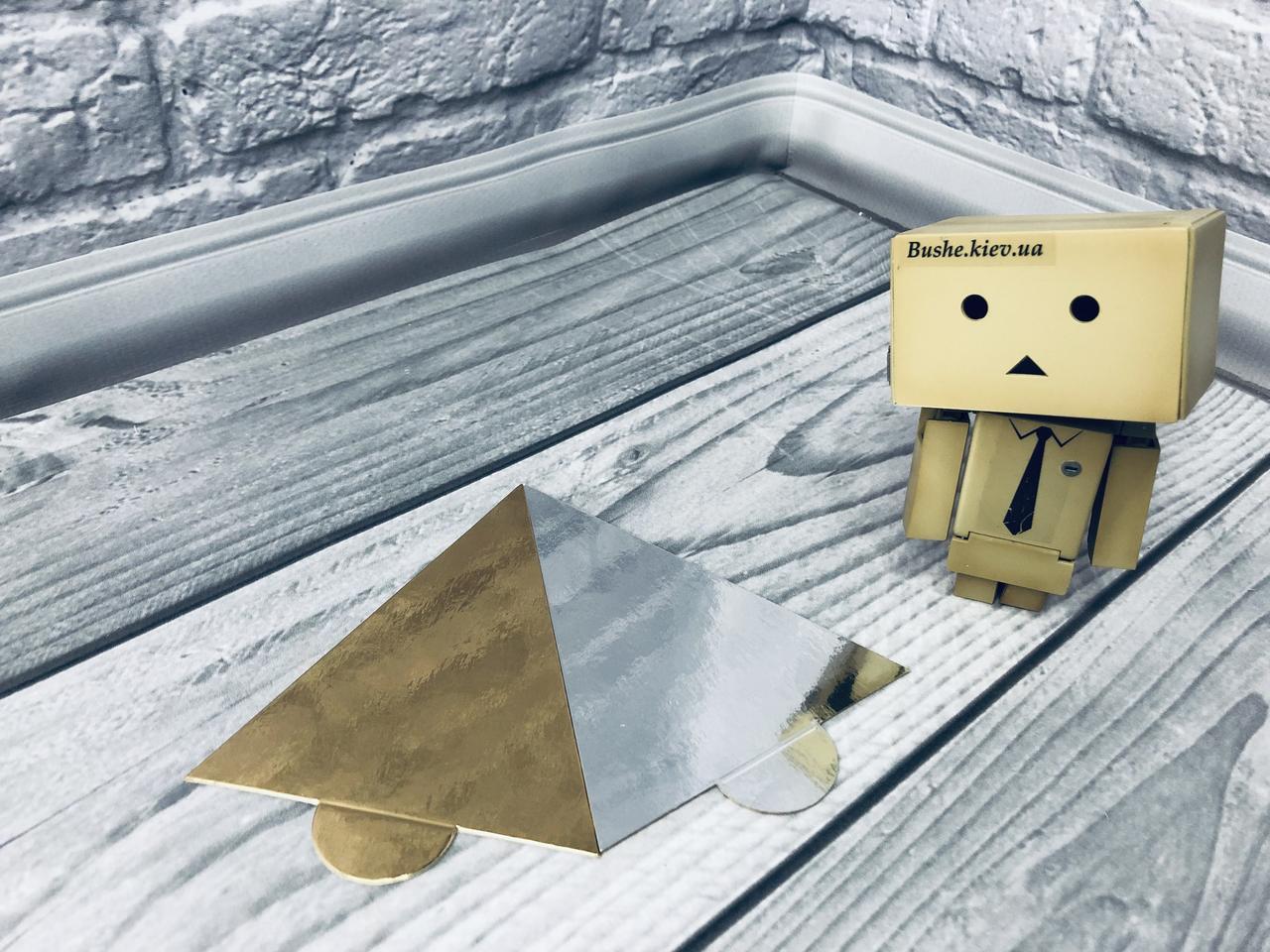 *100 шт* / Подложка под пирожное 11х9см-РУЧ, Золото-серебро, 110х90мм/мин 100 шт