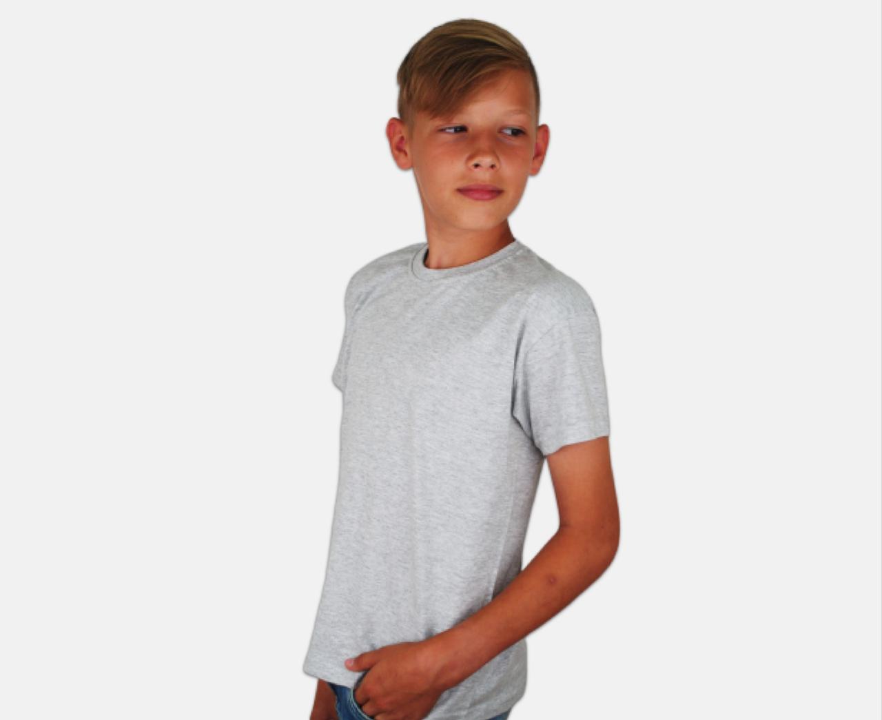 Детская Классическая Футболка для Мальчиков Серо-лиловая Fruit of the loom 61-033-94 3-4