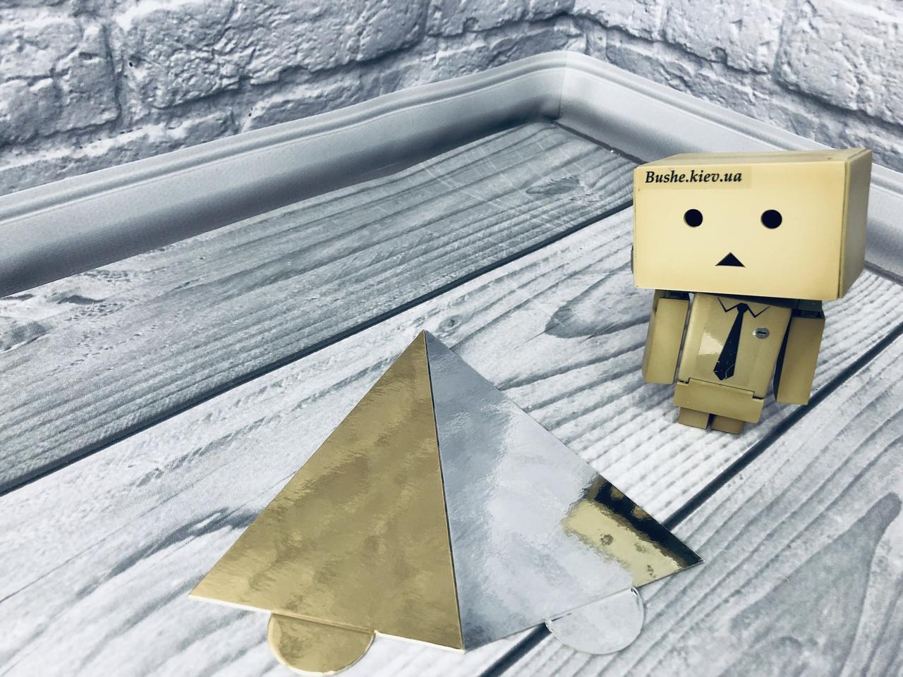 *100 шт* / Подложка под пирожное 13,5х8см-РУЧ, Золото-серебро, 135х80мм/мин 100 шт