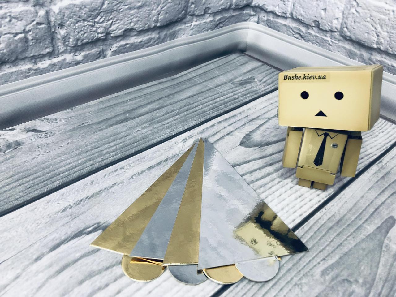 *100 шт* / Подложка под пирожное 12х9см-РУЧ, Золото-серебро, 120х90мм/мин 100 шт
