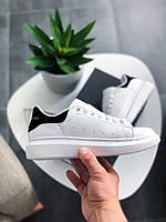 Женские кроссовки Alexander McQueen White/Black. Кожа, фото 1
