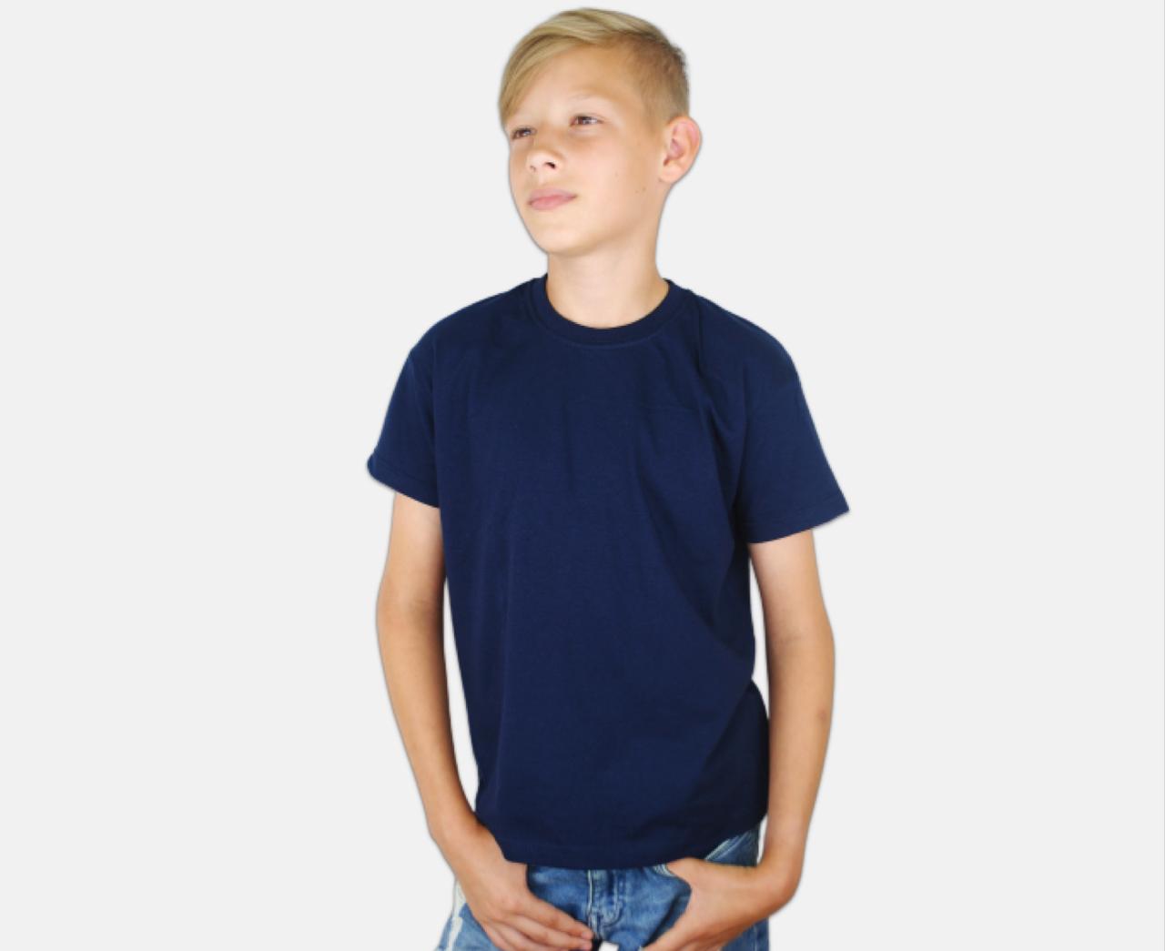 Детская Классическая Футболка для Мальчиков Глубоко тёмно-синяя Fruit of the loom 61-033-AZ 14-15