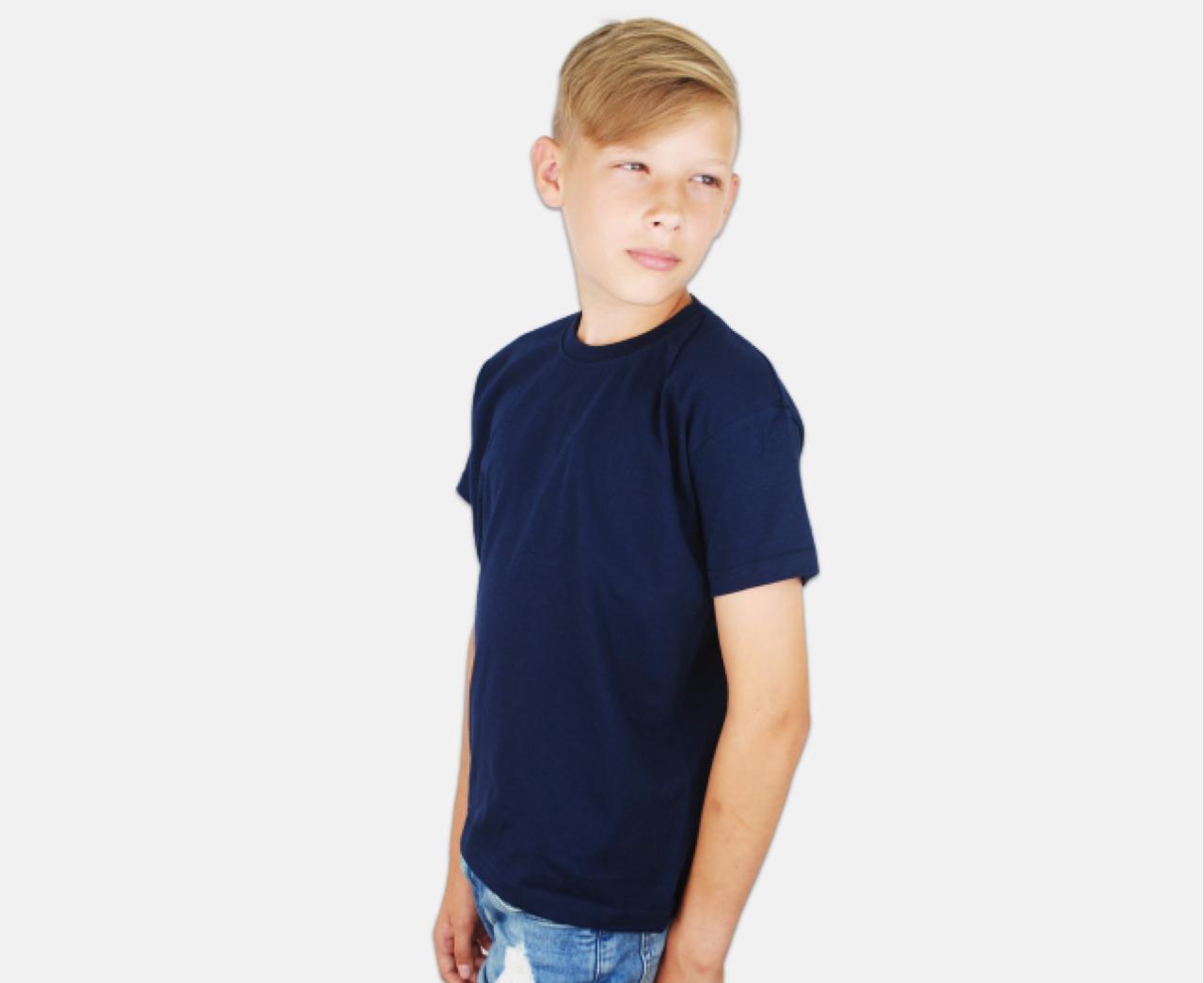 Детская Классическая Футболка для Мальчиков Глубоко тёмно-синяя Fruit of the loom 61-033-AZ 3-4