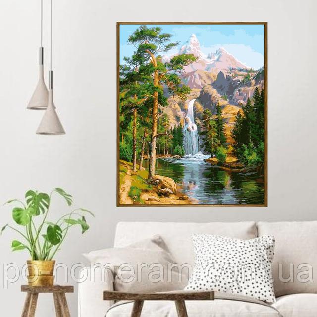 картины по номерам с рамкой Водопад в сосновом лесу