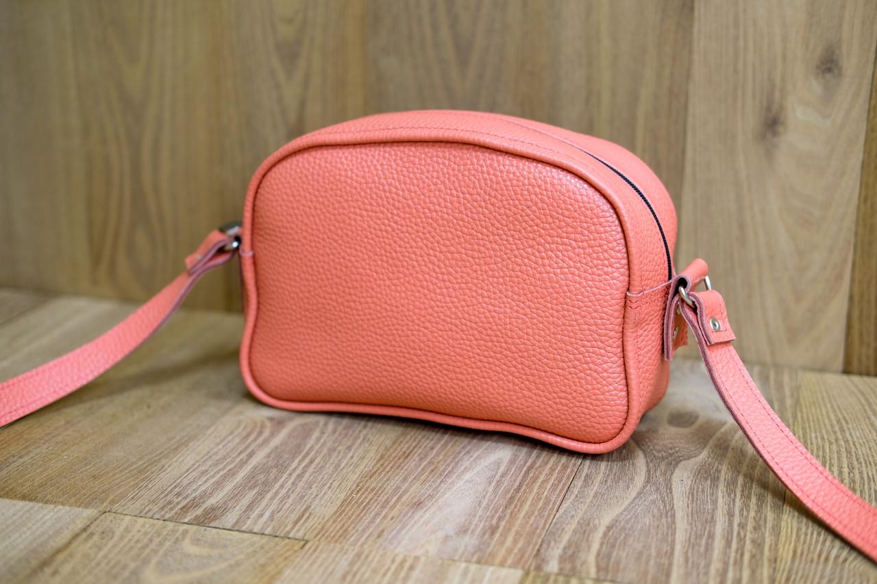 """Женская сумка """"Модель №28"""" Кожа Флотар цвет Коралл"""