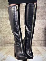 Высокие черные кожаные сапоги Valeys
