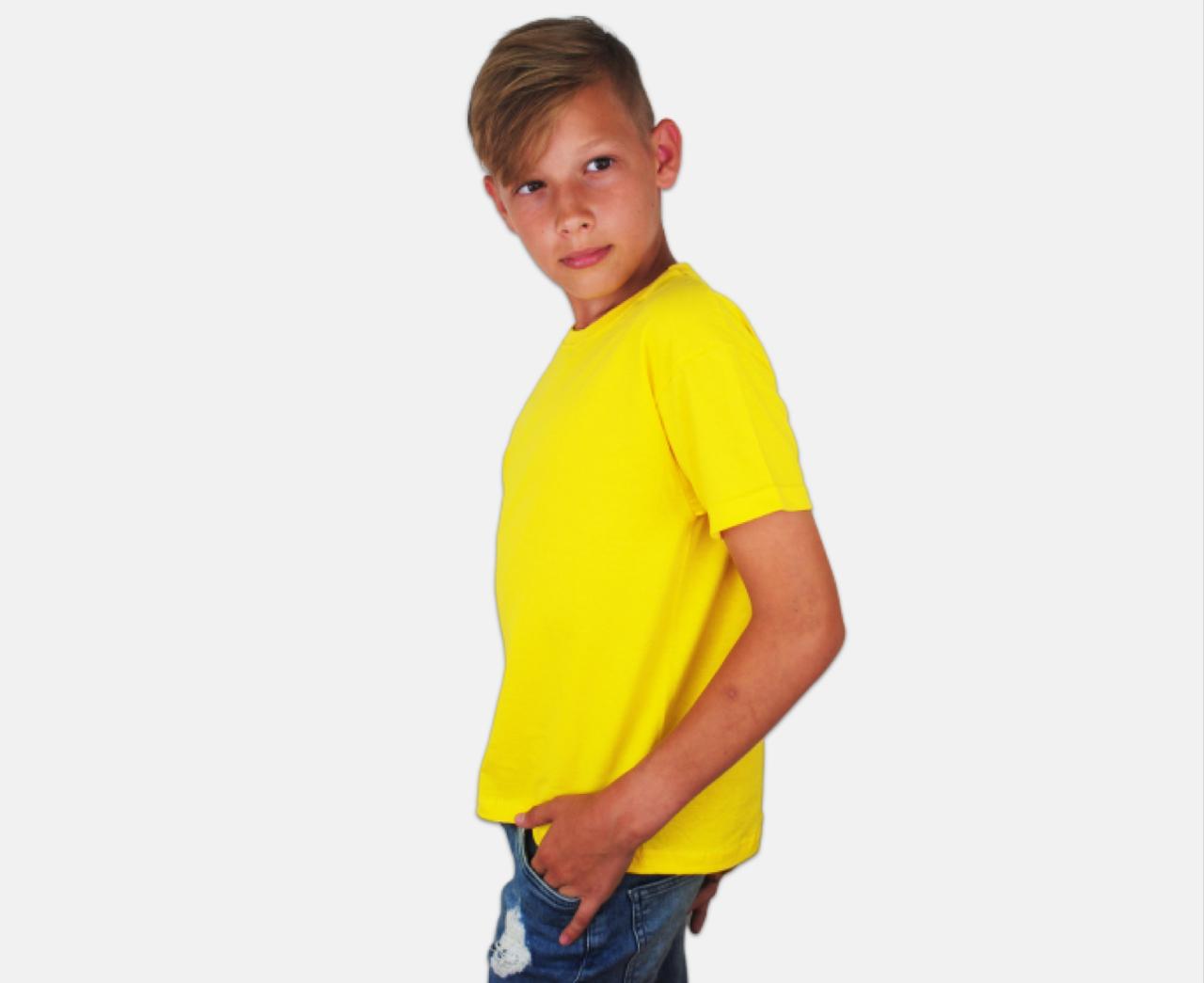 Детская Классическая Футболка для Мальчиков Ярко-жёлтая Fruit of the loom 61-033-K2 14-15