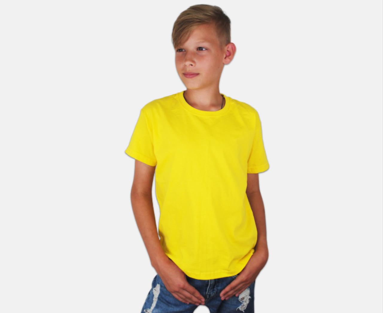 Детская Классическая Футболка для Мальчиков Ярко-жёлтая Fruit of the loom 61-033-K2 3-4