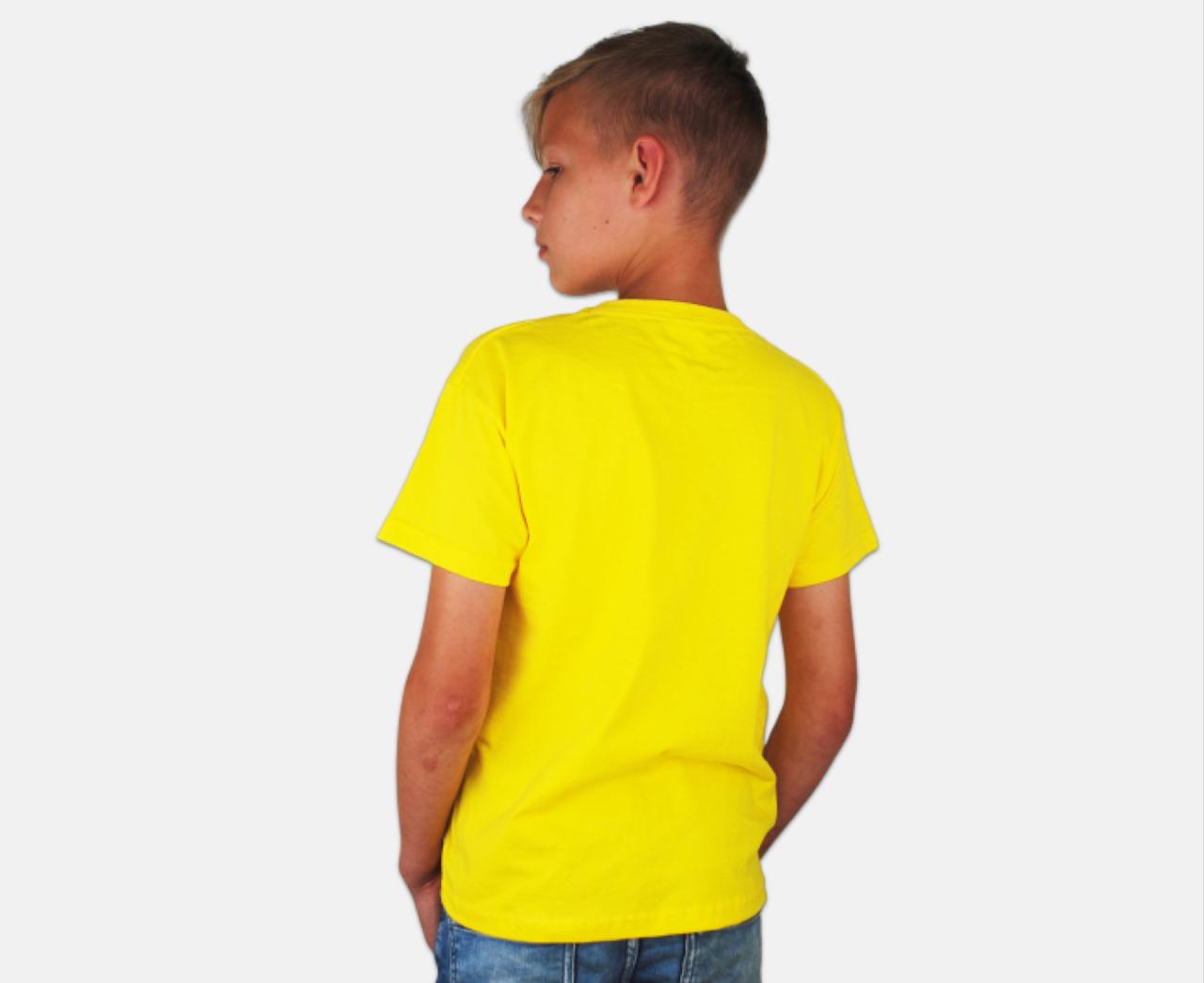 Детская Классическая Футболка для Мальчиков Ярко-жёлтая Fruit of the loom 61-033-K2 7-8