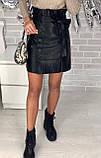 Юбка женская из эко кожи чёрная, бежевая, бордо, фото 6