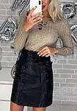 Юбка женская из эко кожи чёрная, бежевая, бордо, фото 4