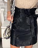 Юбка женская из эко кожи чёрная, бежевая, бордо, фото 5