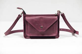 Сумка женская. Кожаная сумочка Уголок Винтажная кожа цвет  Бордо