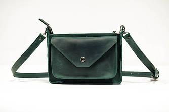 Сумка женская. Кожаная сумочка Уголок Винтажная кожа цвет Зеленый