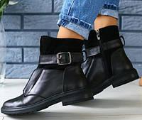 37,39,40 демисезонные кожаные ботинки полусапожки женские на низком ходу черные весна осень E28JB55S