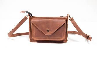 Сумка женская. Кожаная сумочка Уголок Винтажная кожа цвет Коньяк