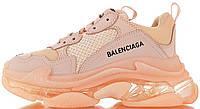 Женские кроссовки Balenciaga Triple S Clear Sole Pink (в стиле Баленсиага Трипл С) розовые
