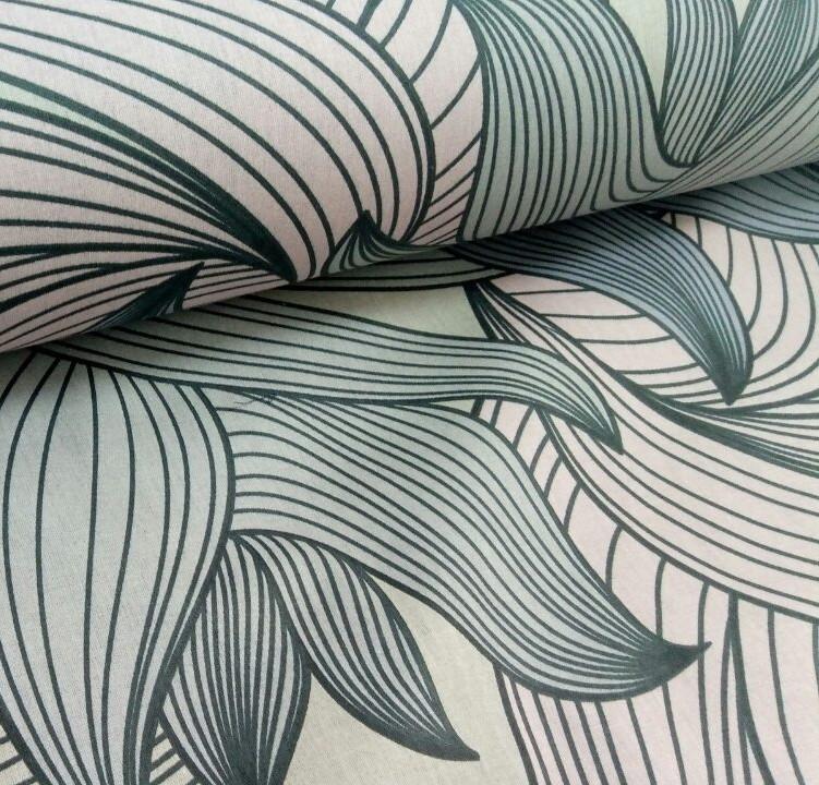 Хлопковая ткань (ТУРЦИЯ шир. 2,4 м) листья полосатые пудрово-серые на коричневом