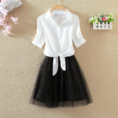 Костюм женский  нарядный 2-ка (фатиновая юбка пачка + блузка белая с завязками), модный, от 42 до 48 размера