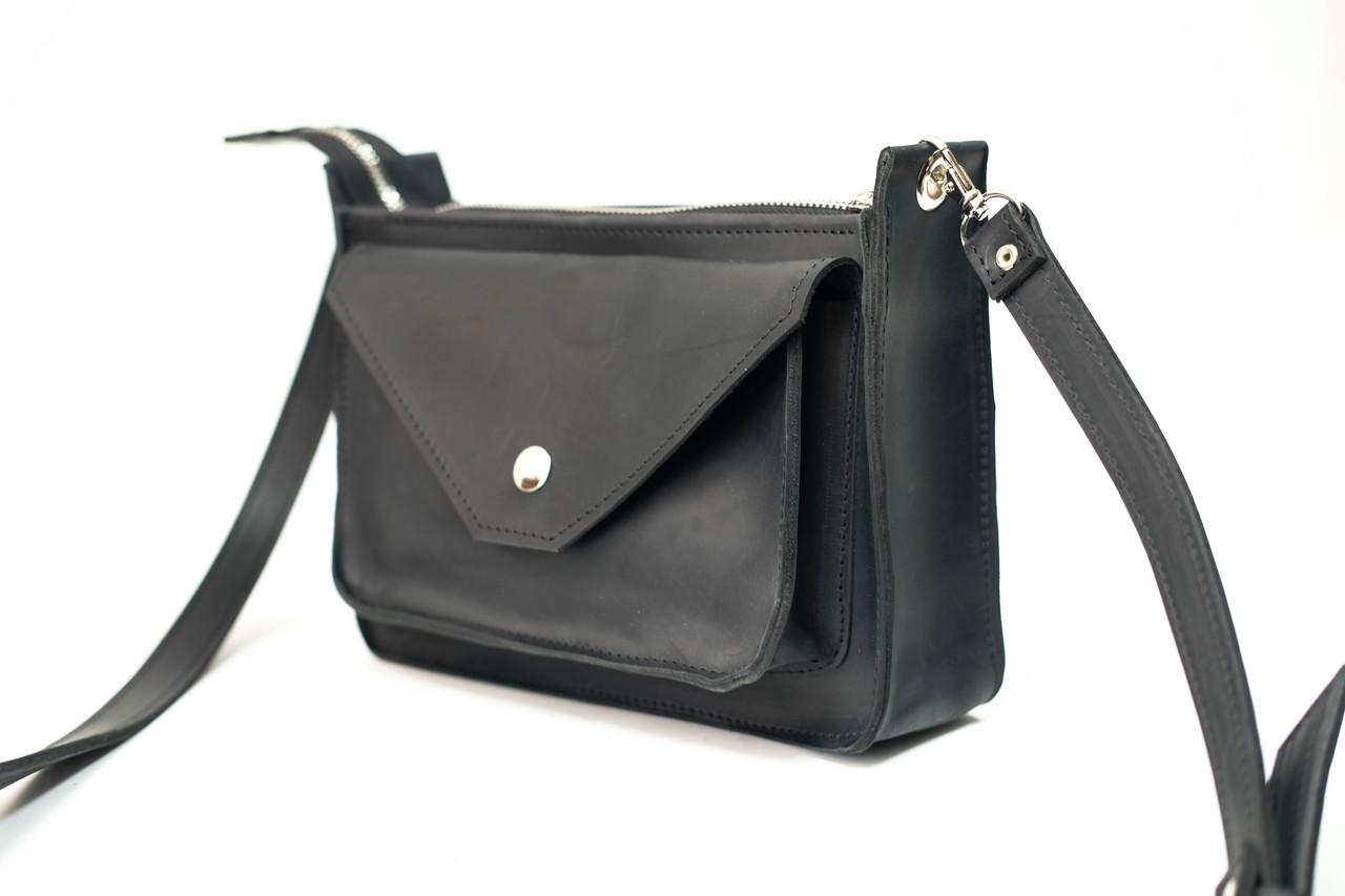 Сумка женская. Кожаная сумочка Уголок Винтажная кожа цвет Черный