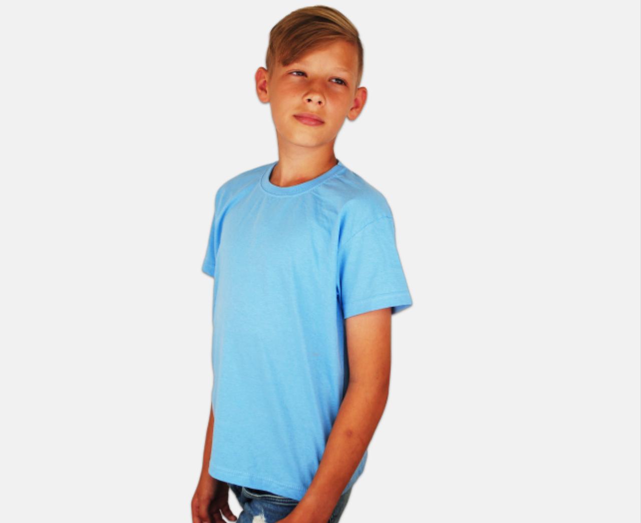 Детская Классическая Футболка для Мальчиков Небесно-голубая Fruit of the loom 61-033-YT 12-13