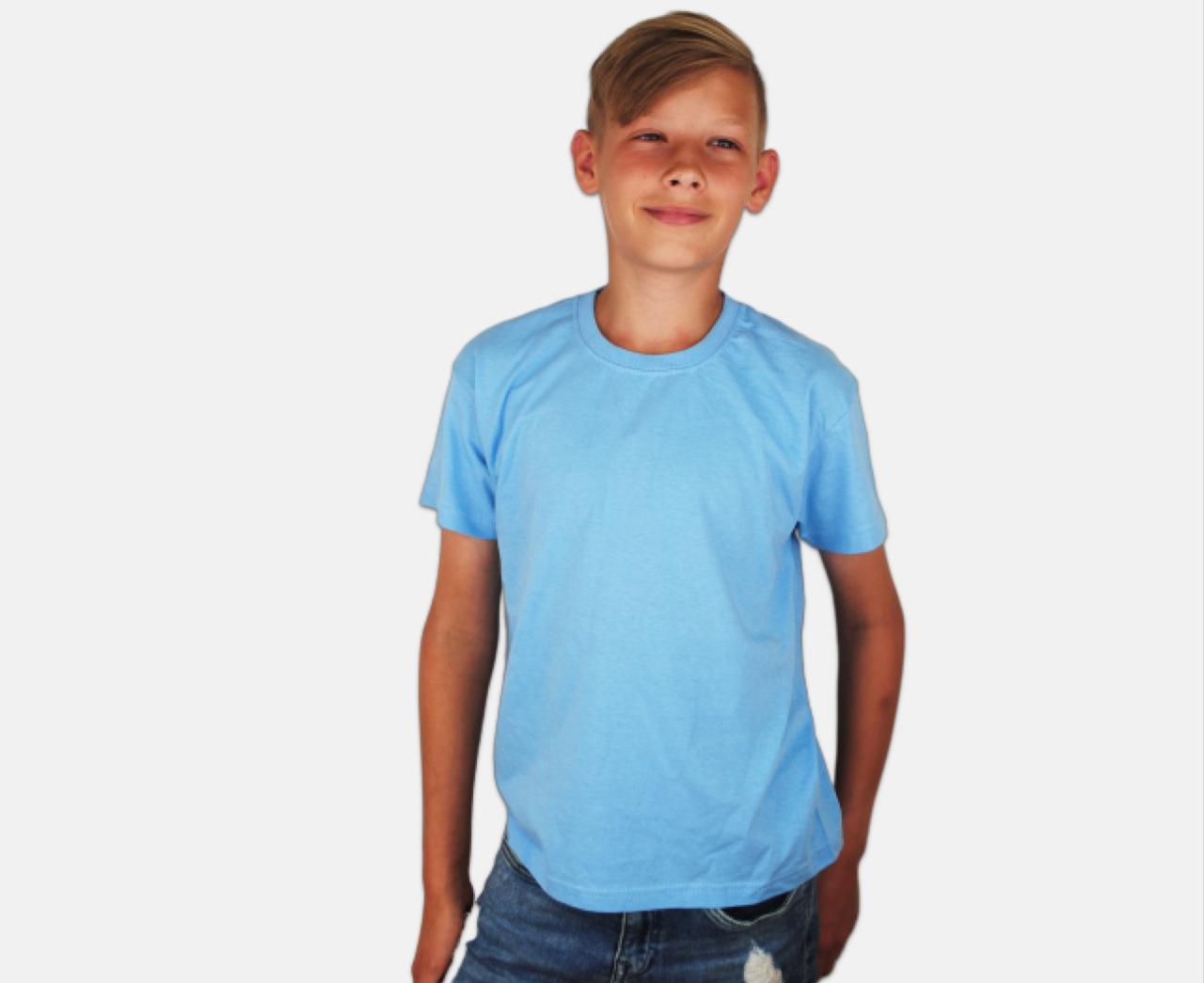 Детская Классическая Футболка для Мальчиков Небесно-голубая Fruit of the loom 61-033-YT 3-4