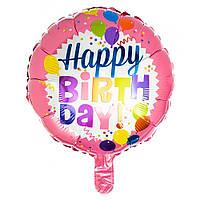 """Надувной шар из фольги """"Happy Birthday"""" подходит для гелия d=45см"""